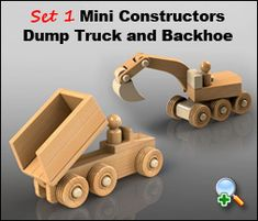 "Plan Set Description: The Backhoe as shown is 7-1/2"" L x 3-1/2"" T x 2-1/2"" W. Dump Truck is 6"" L x 3"" T x 2-1/2"" W. Backhoe Digging Bucket raises and lowers. Dump Bed swings back. Works great with Mini Constructors Semi Truck & Bulldozer. Color 8-1/2"" x 11"" pages with black & white pattern pages."