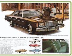 1975 Chevrolet Impala Four Door Sedan – Design Chevrolet Chevelle, Chevrolet Impala, Chevy Models, Ad Car, Car Advertising, Vintage Ads, Vintage Photos, Buick, Classic Cars