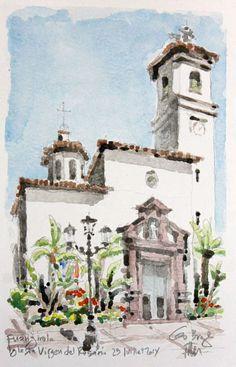 Gu Bragh (©2014 artmajeur.com/gubragh) Un autre point de vue de l'Iglesia Parroquial Virgen del Rosario aquarelle sur croquis crayon papier Canson Montval 300g