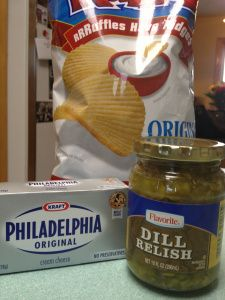 Dill pickle dip  Add dill pickle relish gradually to softened cream cheese until you have consistency for dip.