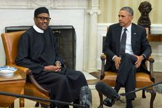 July, 2015- Muhammadu Buhari GCFR is the President of Nigeria, in office since 2015. He is a retired Major General in the Nigerian Army and previously served as the nation's Head of State-meets-obama-at-the-white-house