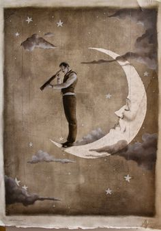 "octoberillustrations: ""The Astronomer"" 19.5""x20.5"" oil on gessoed watercolor paper. 2012. By Shannon Stamey Etsy"