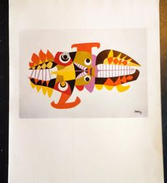 VERY-RARE-Original-Vintage-1986-CESAR-MANRIQUE-LITHO-Print-Fish-Series-Mallorca Litho Print, Spain, Fish, The Originals, Vintage, Ebay, Art, Fish Paintings, Hopscotch