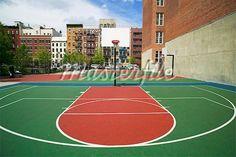 New york city basketball court basketball courts for Building a half court basketball court