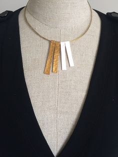 Metallic Hammered Bronze Effect with Pearlised Polymer Clay - Bib Necklace by SanityHalo, $25.00 CAD