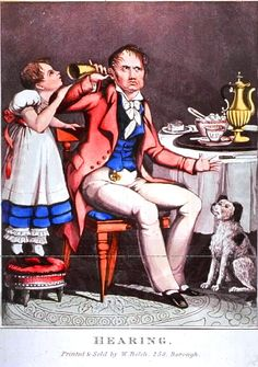 Hearing    Medical - Illustration - Hearing [NLM]    Satire; man with horn for hearing; child holding up to ear. Via NLM.