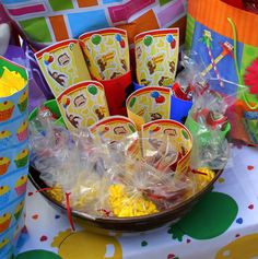 Shana assembled party favors in clear cellophane bags: Curious George cups and stickers with banana candies. Curious George Party, Curious George Birthday, 4th Birthday Parties, Birthday Fun, Birthday Ideas, Free Printable Party Invitations, Hot Wheels Party, Party Time, Party Ideas