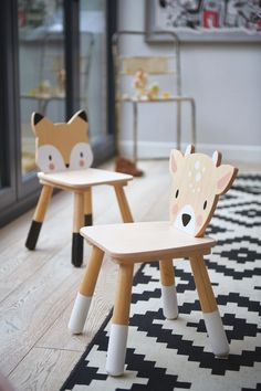 A very sweet plywood chair with white accents on the legs and adorable fox character back. A wonderful whimsical touch to a room. Mix and match other chairs from the range. Playroom Wall Decor, Baby Playroom, Playroom Furniture, Playroom Design, Kids Room Design, Kids Furniture, Lampe Miffy, Kids Play Spaces, Toddler Chair