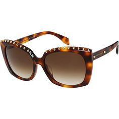 Brown Tortoiseshell Studded Square Sunglasses