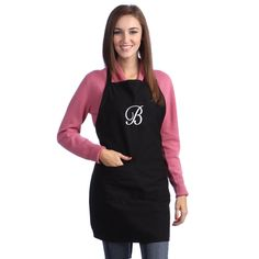 This fun and functional kitchen apron features a custom monogram design and an adjustable strap for comfort. This stylish apron is sure to make a great personalized host/hostess gift at your next dinner party or function.