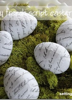 How to make easy french script Easter eggs from Setting for Four...applied to any surface, of course