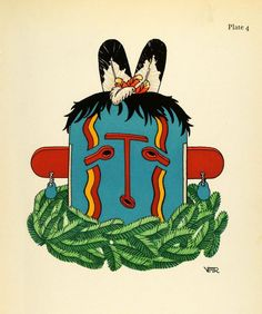 1941 Lithograph Pueblo Indian. Hehea, Hopi Mask by Virginia More Roediger (via periodpaper).