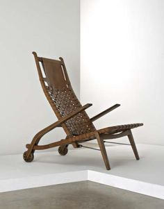 Incroyable Hans Wegner; Oak And Leather Folding Chair For Johannes Hansen, 1956.