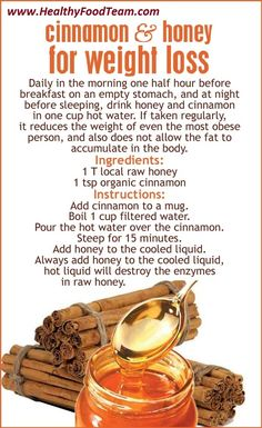 Cinnamon And Honey For Weight Loss ! Skeptical on the weight loss claim, but this sounds delicious. #weightlossmotivation