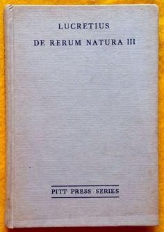De Rerum Natura III Liber Tertius by Lucretius ed Duff Hardcover Cambridge 1962 The Duff, Cambridge, Literature, Ebay, Things To Sell, Literatura