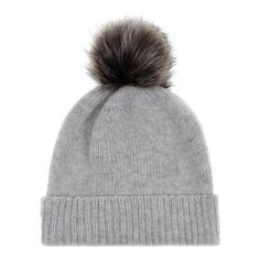 Light Grey/Lady Grey Cashmere Faux Fur Pom-Pom Beanie ❤ liked on Polyvore featuring accessories, hats, pom beanie, beanie hats, cashmere hat, cashmere beanie and pom pom hats