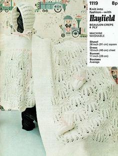 Items similar to Original Vintage Baby Christening Knitting Pattern Hayfield 1119 Dress Blanket Shawl Bonnet Heirloom Victorian Regency Medieval Lace RARE on Etsy Baby Shawl, Blanket Shawl, Baby Knitting Patterns, Crochet Patterns, Quick Knits, Baby Christening, Garter Stitch, Vintage Knitting, Knit Crochet