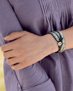 Leather and Metal Wrap Bracelet One Size   Territory Ahead- I should be able to make something similar!