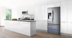 French Door Refrigerator with Twin Cooling Plus, cu. Samsung Fridge, French Door Refrigerator, French Doors, Home Appliances, Kitchen, Table, Furniture, Home Decor, Cucina
