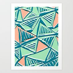 Painted and digital striped triangles pattern Art Print by Sarah Bagshaw - $18.00