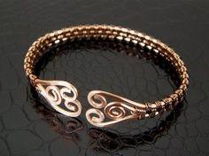 copper bracelet, wire work, wire weaving