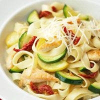 Fast Chicken Fettuccine - Don't deny yourself a bowl of pasta once in a while— just combine your noodles with other healthy ingredients. We love tangy sun-dried tomatoes and sauteed zucchini. Add protein with wallet-friendly chicken breast. Easy Pasta Recipes, Healthy Dinner Recipes, Chicken Recipes, Cooking Recipes, Healthy Dinners, Healthy Chicken, Budget Cooking, Recipe Chicken, Quick Recipes