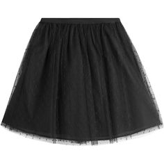 RED Valentino Dotted Tulle Mini-Skirt (€305) ❤ liked on Polyvore featuring skirts, mini skirts, black, embroidered skirt, elastic waist skirt, red valentino, elastic waist mini skirt and polka dot skirt