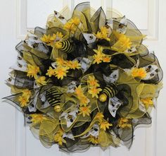 Be My Bumble Bee Deco Mesh Wreath by WreathsByJeanZ on Etsy