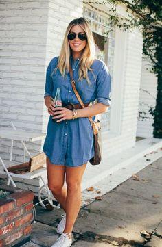 vestido jeans com tênis