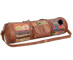 Bolsa de yoga artesanal de cuero y algodón Mirit - 30x70 cm