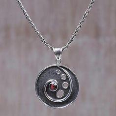 Garnet pendant necklace, 'Morning Surf' - Sterling Silver and Garnet Pendant Necklace