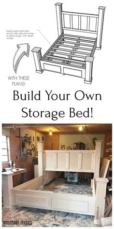 Build this gorgeous farmhouse style storage bed frame with two large drawers wit. - Build this gorgeous farmhouse style storage bed frame with two large drawers with these plans! Diy King Bed Frame, Bed Frame Plans, Bed Plans, Custom Bed Frame, Diy Furniture Redo, Homemade Furniture, Diy Furniture Plans Wood Projects, Woodworking Projects, Woodworking Tattoo Ideas