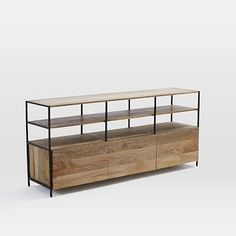 "Rustic Modular Media Console WEST ELM $1,199 67""w x 17""d x 30""h. Solid mango wood with natural color variations. Blackened steel frames and legs. Coordinates with the Rustic Modular Storage Collection pieces (sold separately). Made in India."
