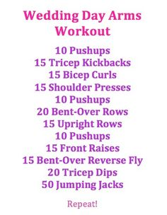 Great arm workout - wedding arms or not! Love this workout - my arms are jelly! Easy Arm Workout, Good Arm Workouts, Workout Exercises, Workout Ideas, Arm Exercises, Body Workouts, Workout Plans, Stretches, Workout Fun