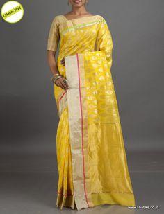 Lemon Tree Autumn in Silver #ChanderiSilkSaree