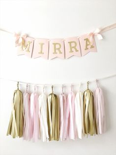 Excited to share the latest addition to my #etsy shop: Personalized Name Banner Girl 1 st Birthday Banner Blush Rose Gold Birthday Party Decoration Baby Shower Photo Shoot Prop Custom Baby Banner