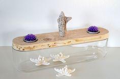 Bonboniere mit Treibholzdeckel ~ glass with driftwood cover