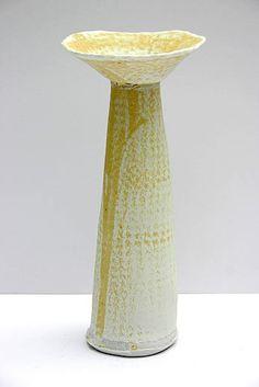 Ceramics by Jane Wheeler at Studiopottery.co.uk - Barium glaze on impressed DL porcelain vessel, 22cm x 10cm