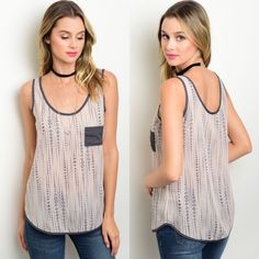 🎉CLEARANCE🎉 Dusty Pink & Charcoal Sleeveless Top New with tags. Dusty pink and charcoal sheer sleeveless tank with small pocket on the bust. Available in S and L.                                                     🌸100% polyester.                                                                  🌸Made in USA.                                                                🌺PRICE IS FIRM UNLESS BUNDLED.                             ❌SORRY, NO TRADES. Boutique Tops Tank Tops