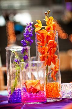 Orange and Purple Centerpieces DC Wedding Venue Tour: Ronald Reagan Building Homemade Wedding Centerpieces, Orange Centerpieces, Wedding Decorations, Decor Wedding, Simple Centerpieces, Easy Decorations, Candle Centerpieces, Candles, Centerpiece Ideas