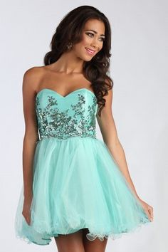 #thepromshoppe #homecoming #2013 #dress #short #seafoamgreen #flowy