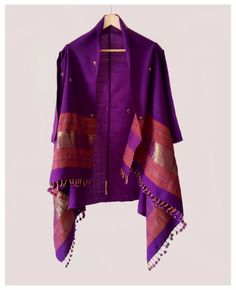 Handwoven and Embroidered Woolen Shawl Jacket in Purple