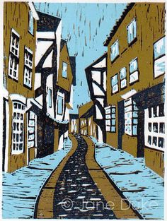The Shambles, York, original linocut relief print limited edition unframed