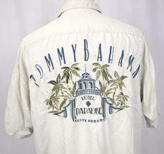 Tommy Bahama Shirt Large Hawaiian Hotel Paradise Silk Suite Dreams Aloha B25 #TommyBahama #Hawaiian