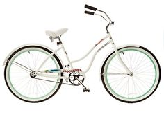 Titan Womens Docksider Single Speed Beach Cruiser Bicycle 26 Wheels 17 Frame White with Mint Green Wheels * Check this awesome product by going to the link at the image. This is an Amazon Affiliate links.