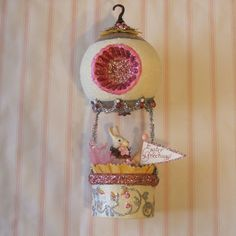 Bunny in Hot Air Balloon/Easter Decoration by marileejanedesigns, $34.00