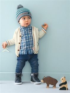 Baby Boy's Two-Tone Knitted Cardigan