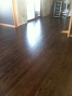 Jacobean stain by Minwax on red oak floors... you need a little ebony to tone down the red and make the finish consistent from plank to plank