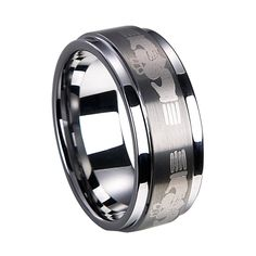 Tungsten laser Lord of ring with laser characters & brushed center