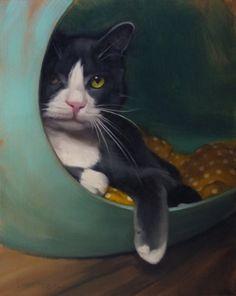 Petie in the Loop celebrity cat portrait, painting by artist Diane Hoeptner